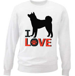 New White Cotton Sweatshirt I Love Akita