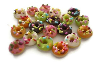 10 Loose Donut  Mix  Dollhouse Miniatures Food Bakery Supply Deco