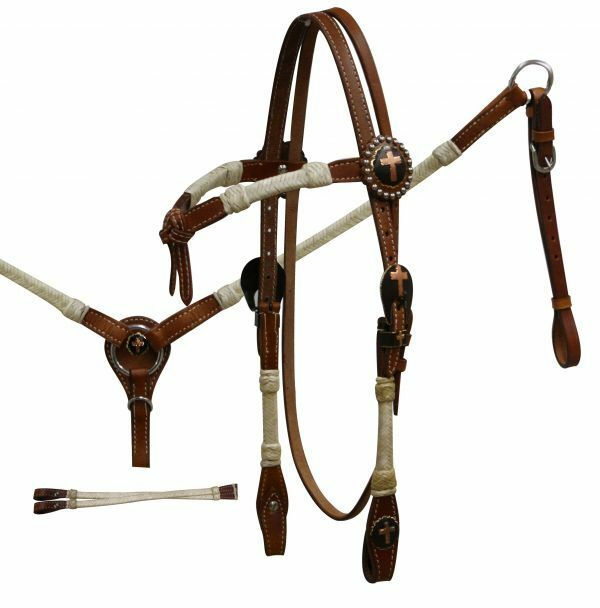 Showman FUTURITY KNOT Rawhide CROSS Concho Bridle Breast Collar & Reins SET