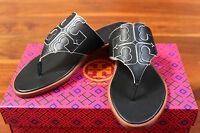 Tory Burch Jamie Sandal Thong Leather Logo Black White Flip Flop 6.5 $195