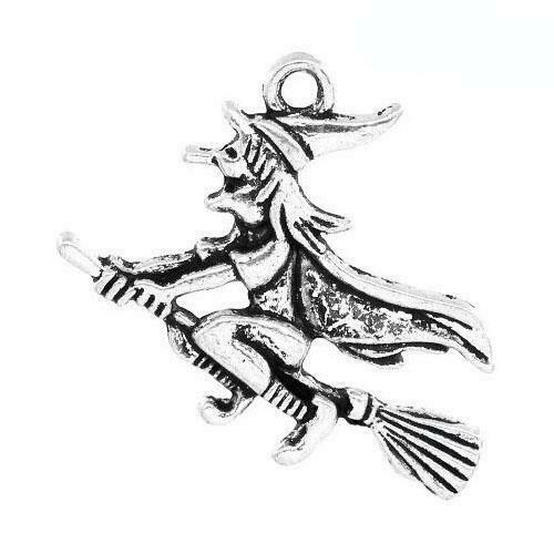 Witch Charm//Pendant Tibetan Antique Silver 37mm  2 Charms Accessory Jewellery