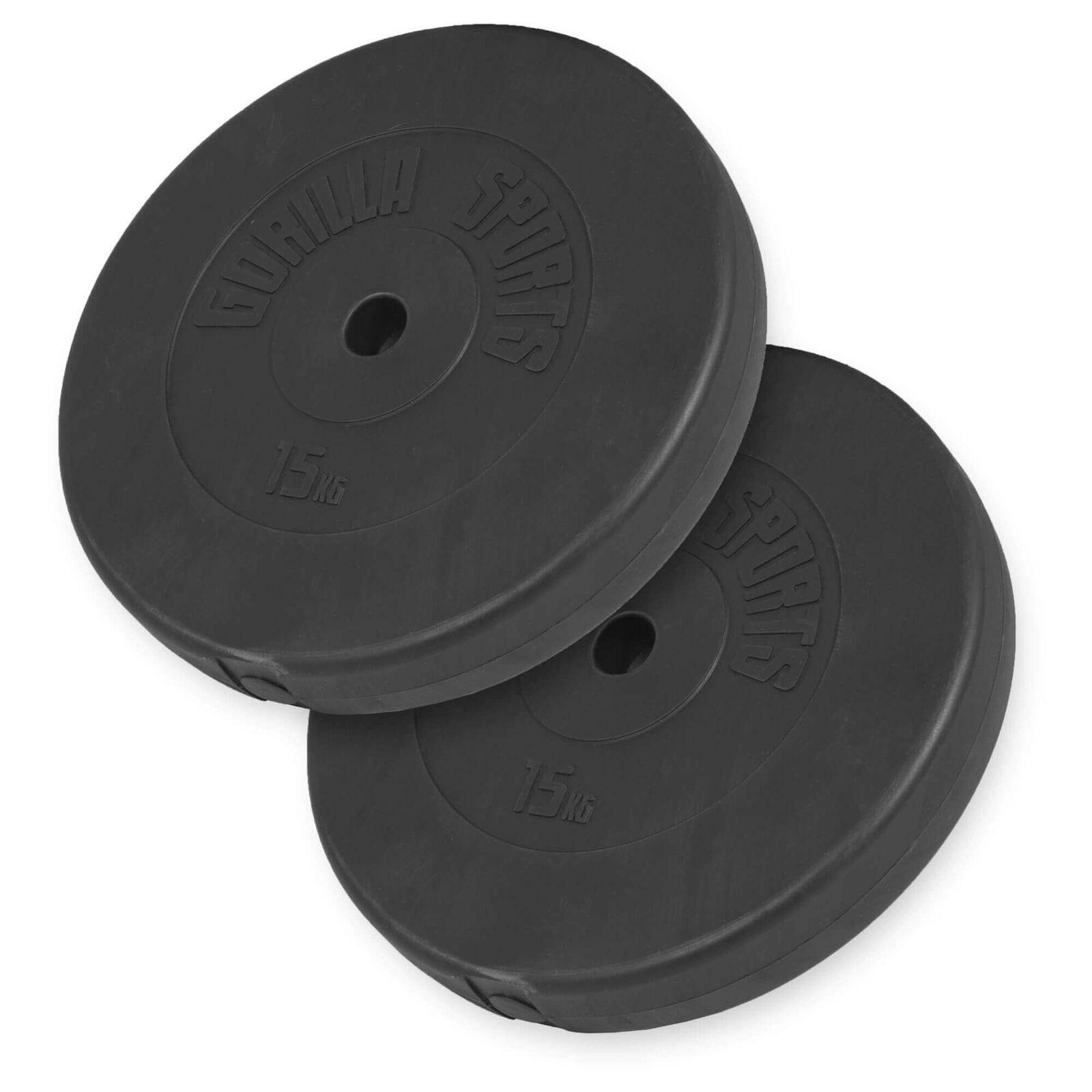 Gorilla Sports Hantelscheibenset 30/31mm Plastica 30 kg - 2 x 15 kg Pesi