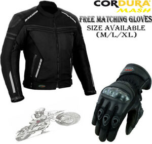 MENS-BLACK-MESH-VENTED-CE-SUMMER-MOTORBIKE-MOTORCYCLE-TEXTILE-JACKET-amp-GLOVES