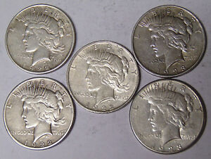 Lot-of-5-Peace-Silver-Dollars-1922-1922-D-1922-S-1923-1923-S-Circulated
