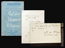 1940 Mit Widmung signiert Autograph Jünger Ernst Auf den Marmorklippen