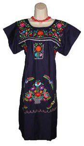 d1db671ab98 Navy Blue Boho Vintage Style Hand Embroidered Tunic Mexican Dress ...