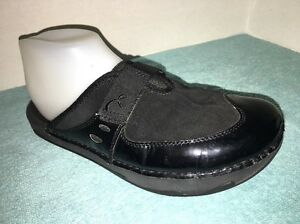 Earth-Black-Suede-amp-Patent-Leather-Clogs-Size-6-B
