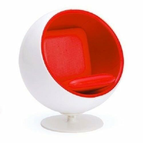Mid Century Miniature White Red Ball Chair Eero Aarnio Designer Chair 1:12 Scale