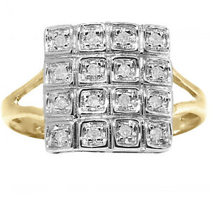 Natural-16-Diamond-9ct-9K-375-Solid-Gold-Pave-Ring