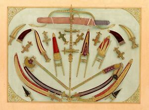Hand-Painted-Daggers-And-Traditional-Weapons-Mughal-Miniature-Islamic-Painting