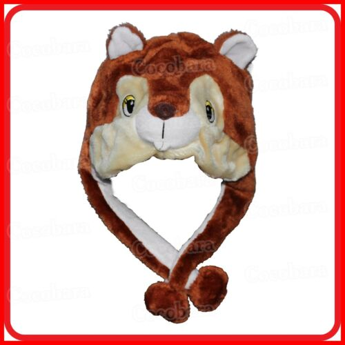 SQUIRREL ANIMAL CARTOON PLUSH FLUFFY HOODED HAT CAP BEANIE EARMUFF-COSTUME-DRESS