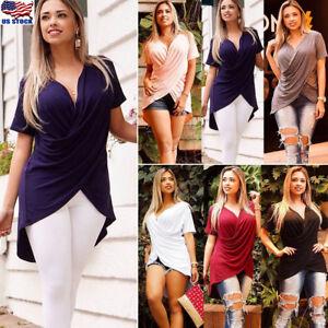 Women-Short-Sleeve-Wrap-Tunic-Tops-Ladies-Soild-Pleated-V-Neck-Blouse-T-Shirt-US