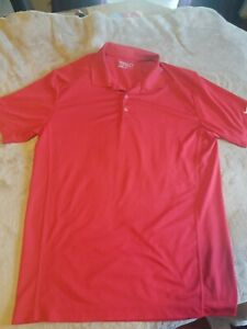 Nike-Golf-Mens-Polo-Shirt-Size-LARGE-Short-Sleeve-Red-Dri-Fit-EUC