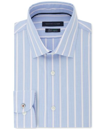 Details about  /TOMMY HILFIGER Men Slim Fit Stretch TH Flex Striped Dress Shirt NWT $79.50