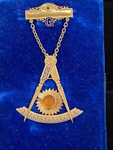 Fairweather Masonic Lodge #82 Moonstone Jewel Pin  Dated 1910 11.3 Grams