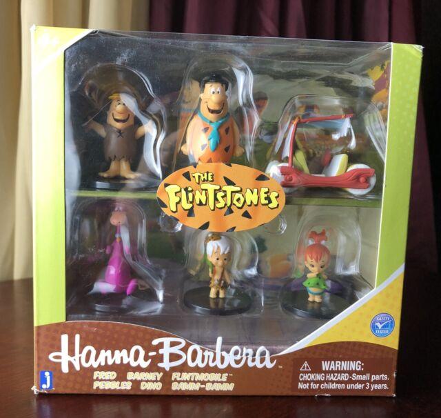 "I FLINTSTONES Hanna Barbera 2/"" Box Set 6 Figure Jazwares FRED BARNEY DINO S"