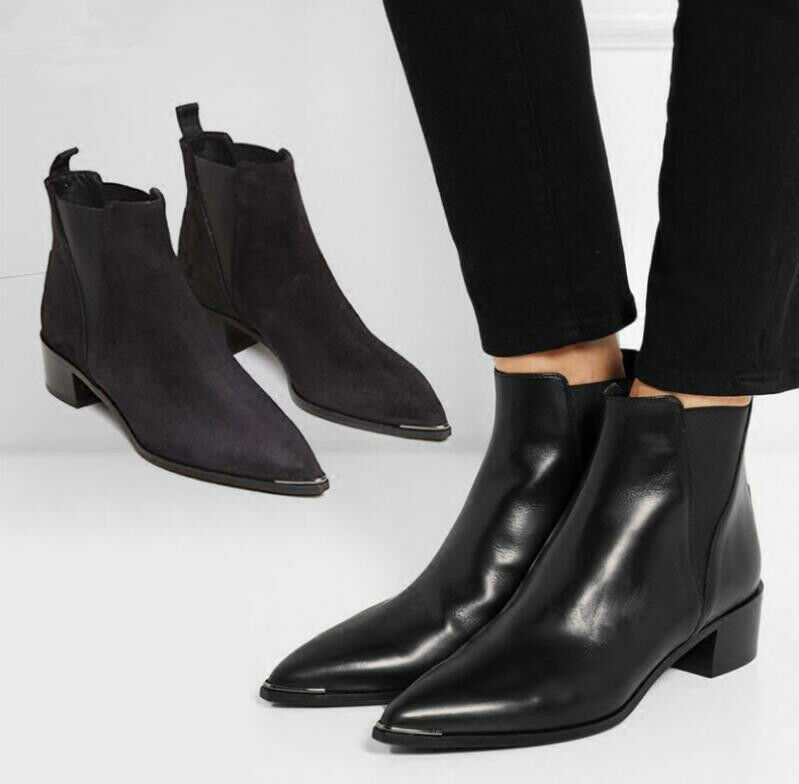 Oxfords Womens Pointed Toe Chelsea Real Leather Heels Pull On Ankle Boots shoes