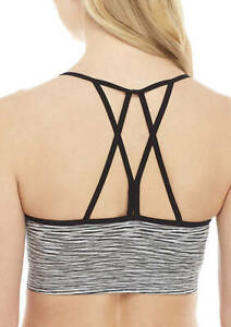 Women-039-s-Zelos-Strappy-Seamless-Bra-NWT-Black-White-Removable-Cups-Size-Large