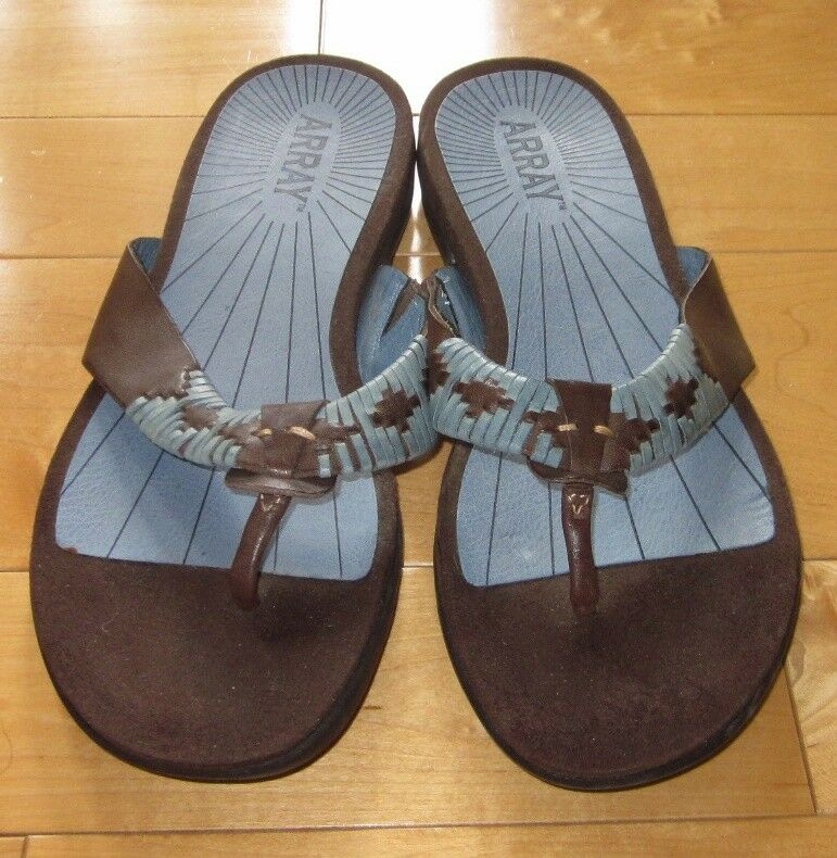 Array Womens Aztec Blue & Brown Leather Thong Sandals Zu Aztec Womens Style 9.5 N ab6604