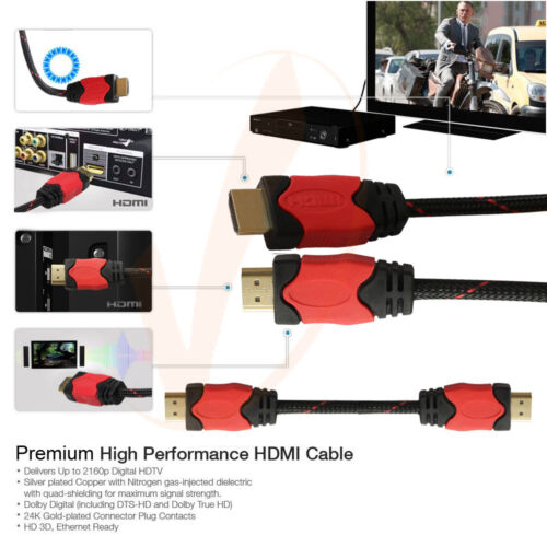 5x3FT HDMI to HDMI Cable Cord 1.4 Version Support 1080P HDTV// PC Monitor Macbook