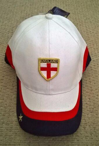 Angleterre Blanc Football Baseball Cap Curved Peak avec insigne /& GOLD STAR-Neuf