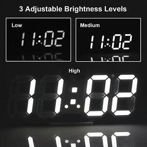 Digital-3D-LED-Wall-Clock-Alarm-Snooze-Watch-12-24-Hour-Display-USB-Modern-USA