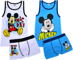 a40491012 Boys New Mickey Mouse Vest And Boxers Set Disney Character Kids ...