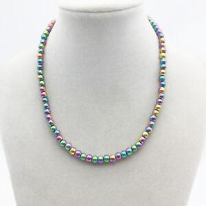 Regenbogen-Haematit-Perlen-rosa-gruen-blau-lila-Halskette-Collier-Kette-Magnet-neu