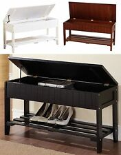 Solid Wood Shoe Bench with One Rack & Storage, White, Black or Walnut Color
