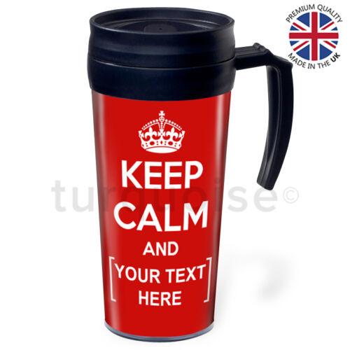 Keep Calm And Carry On Personalised Custom Travel Coffee Mug Tea Flask Cups
