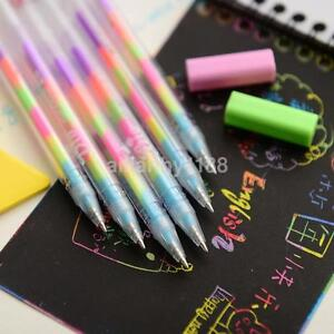 3PCS-Pack-Rainbow-Colorful-Korean-Watercolor-Gel-Pens-Set-School-Stationery-UK