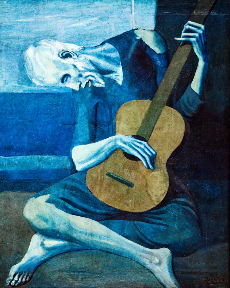 10421.Poster print in Paper or Canvas.Art decor.Picasso guitar player.Blau .