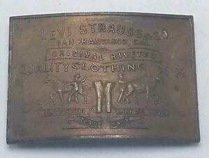 Vintage-Solid-Brass-Western-Belt-Buckle-3-1-4-034-x-2-1-4-034-Levi-Strauss-SF