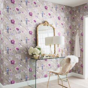 Paradise-Garden-Mink-Birds-Shiny-Metallic-Feature-Wallpaper