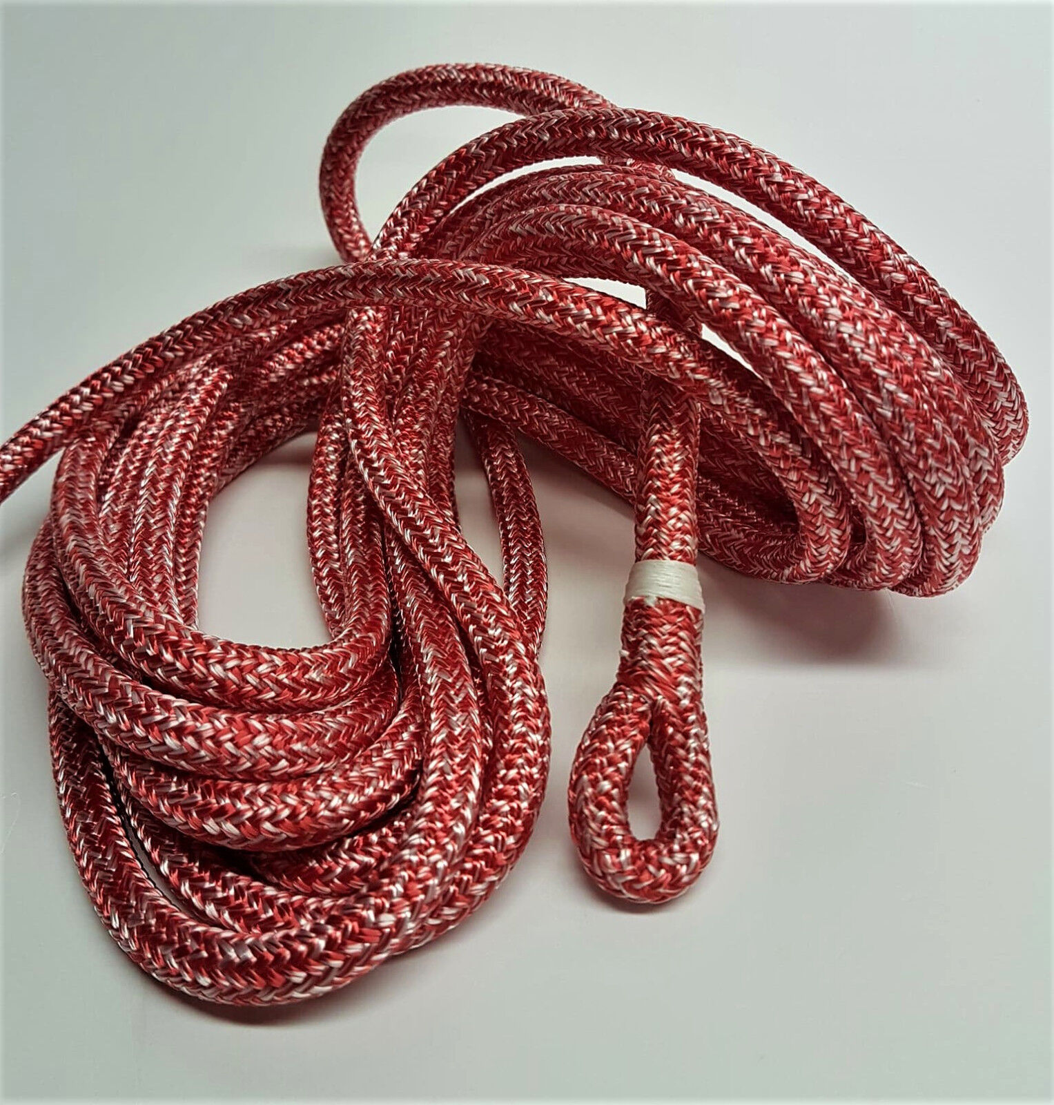 8mm 35mt Spliced Polyester Braid on Braid Pre Stretched Halyard rope Red