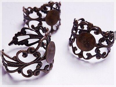 3 Ringrohlinge in antik Bronze für Klebeperlen