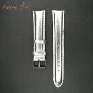 12 14 16 18 20 22 24 26 28 30 mm Watch Band Strap Genuine Leather Silver Mens