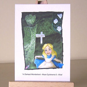 Alice-in-Wonderland-curtsey-ACEO-art-card-of-WDCC-drawing-lost-in-a-maze