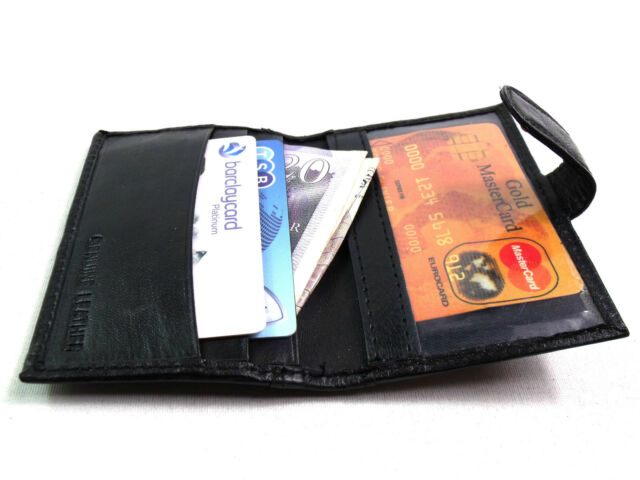 MENS WOMENS HIGH QUALITY SUPER SOFT REAL BLACK LEATHER CREDIT CARD HOLDER WALLET