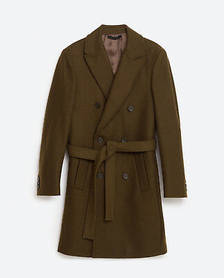 BNWT ZARA MAN COLLECTION Exclusive Double Breasted Wool Olive Green Coat Jacket