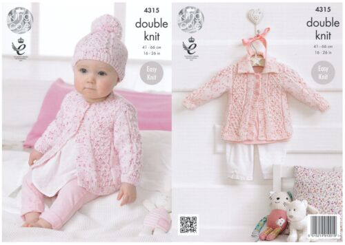 King Cole Double Knitting Pattern Baby Coat Collared Cardigan Hat Smarty DK 4315