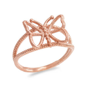 Fine-14k-Rose-Gold-Open-Design-Butterfly-Rope-Band-Ring