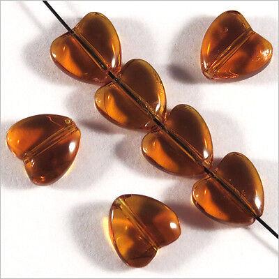 Lot de 10 Perles Tchèques Cœur en verre 8mm Topaze