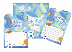 Details About 1st Birthday All Star Party Package Invitations Thank You Cards Lunch Napkins