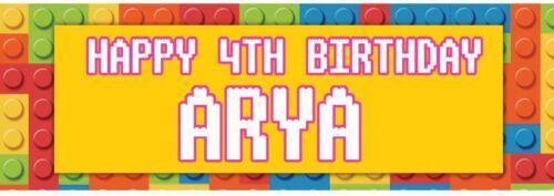 2 X Banner personalizado de cumpleaños Lego Bloques Niños Guardería Niños Fiesta