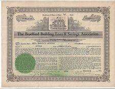 THE BRADFORD BUILDING, LOAN & SAVINGS ASSOCIATION (PA)...1925 STOCK CERTIFICATE