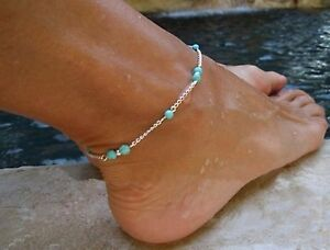 Ankle-Bracelet-Turquoise-Beads-Silver-Tone-Bohemian-Ladies-Womens