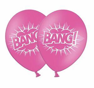 Superhero-039-BANG-039-12-034-Printed-Rose-Pink-Latex-Balloons-5-ct-by-Party-Decor