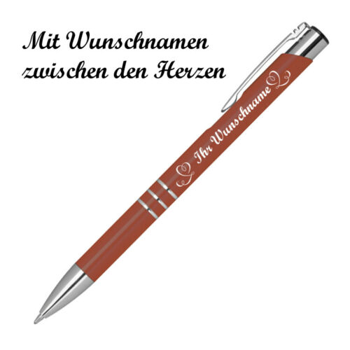 """Kugelschreiber mit Namensgravur /""""Herzen/"""" kupfer Farbe aus Metall"""
