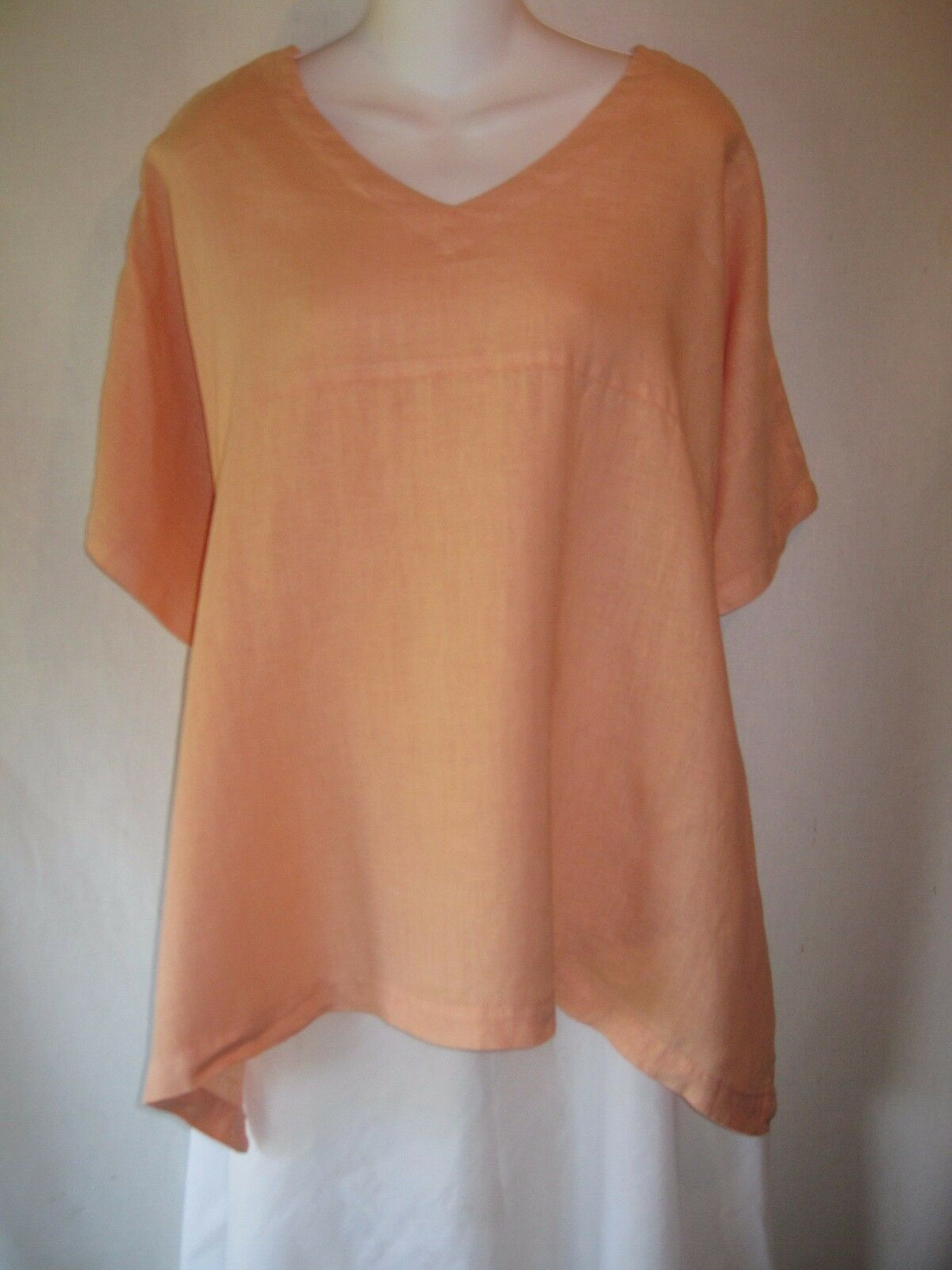 Cut Loose Long Orange Linen Shapely Flarot Hem TunicTop Shirt Small Medium S M